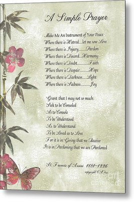 Pope Francis St. Francis Simple Prayer Butterfly Garden Metal Print by Desiderata Gallery