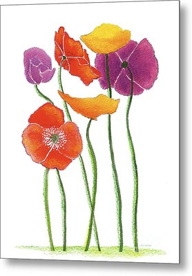 Metal Print featuring the painting Poppies A Plenty by Nan Wright