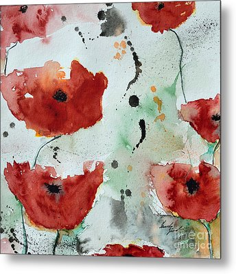 Poppies Flower- Painting Metal Print by Ismeta Gruenwald