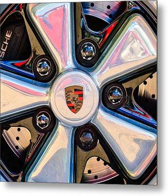 Porsche Wheel Rim Emblem Metal Print by Jill Reger