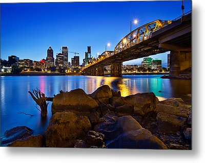 Metal Print featuring the photograph Portland Oregon Skyline At Blue Hour by JPLDesigns