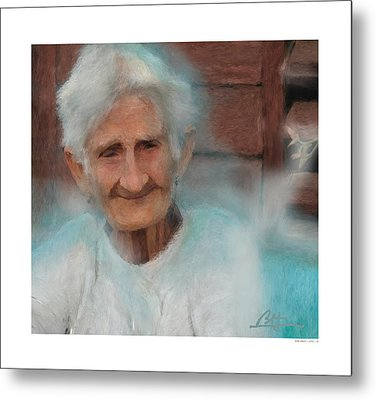 Metal Print featuring the painting Portrait Of A Cuban Granny by Bob Salo