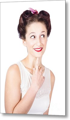 Portrait Of A Lovely Retro Woman With Clear Skin Metal Print by Jorgo Photography - Wall Art Gallery
