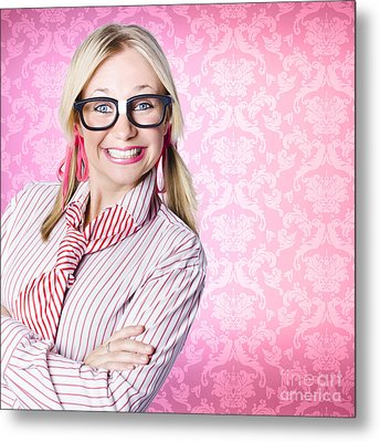 Portrait Of A Nerd Businesswoman With Funny Smile Metal Print