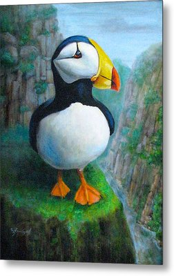 Portrait Of A Puffin Metal Print