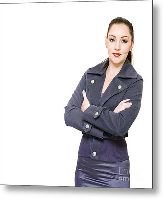Portrait Of A Young Female Executive On White Metal Print by Jorgo Photography - Wall Art Gallery