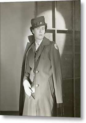 Portrait Of Katherine Blake In Her Red Cross Metal Print by Horst P. Horst