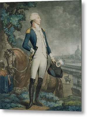 Portrait Of The Marquis De La Fayette Metal Print by Philibert-Louis Debucourt