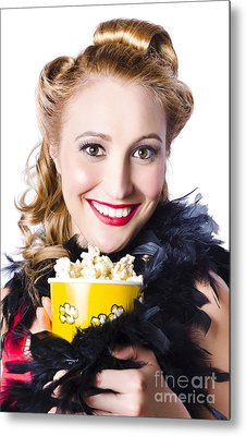 Portrait Of Woman With Popcorn Metal Print by Jorgo Photography - Wall Art Gallery