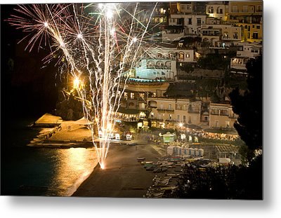 Metal Print featuring the photograph Positano Fireworks - Italy by Carl Amoth