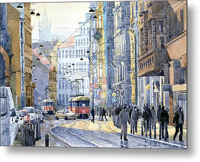 Prague Vodickova Str  Metal Print by Yuriy  Shevchuk