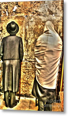Metal Print featuring the photograph Praying At The Western Wall by Doc Braham