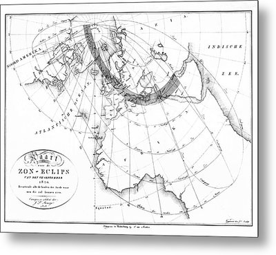 Predicted Annular Solar Eclipse Of 1820 Metal Print by Royal Astronomical Society