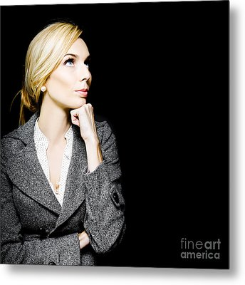 Preoccupied Beautiful Business Woman Metal Print by Jorgo Photography - Wall Art Gallery