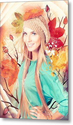 Pretty Blond Girl In Autumn Fashion Illustration Metal Print by Jorgo Photography - Wall Art Gallery