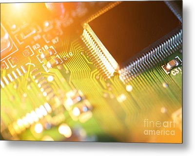 Processor Chip On Circuit Board Metal Print by Konstantin Sutyagin