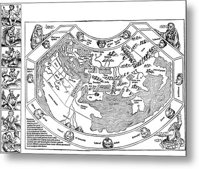 Ptolemaic World Map, 1493 Metal Print by Granger
