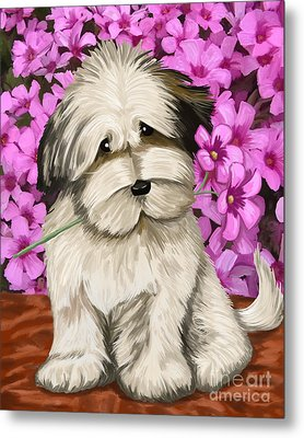 Metal Print featuring the painting Puppy In The Flowers by Tim Gilliland