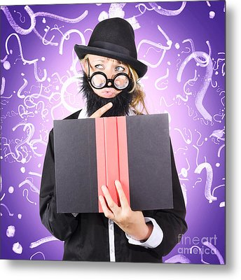 Question Man Reading Puzzle Solving Book Metal Print