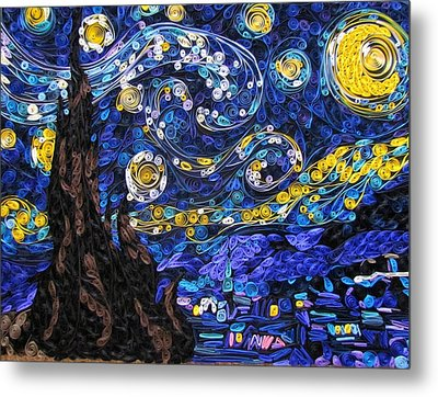Quilled Starry Night Metal Print by Suzy Myers
