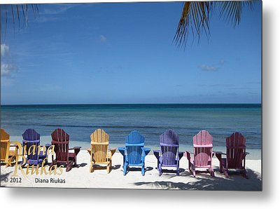 Rainbow Color Of Chairs Metal Print