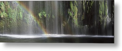Rainbow Formed In Front Of Waterfall Metal Print by Panoramic Images