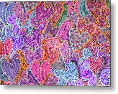 Rainbow Henna Heart Cookies Metal Print by Alixandra Mullins