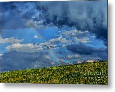 Rainbow Over Pasture Field Metal Print by Thomas R Fletcher