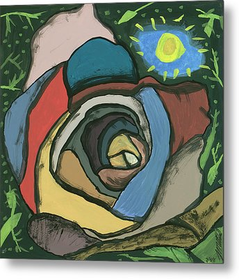 Metal Print featuring the painting Rainbow Rose by Artists With Autism Inc