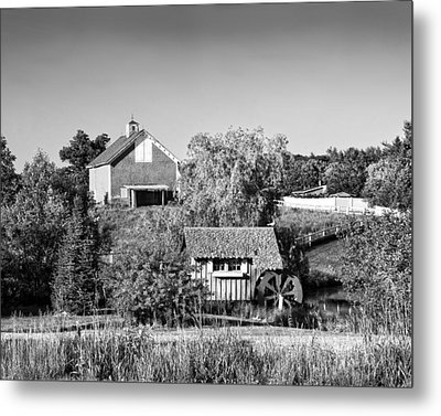 Red Barn And Water Mill On Farm In Maine Metal Print by Keith Webber Jr