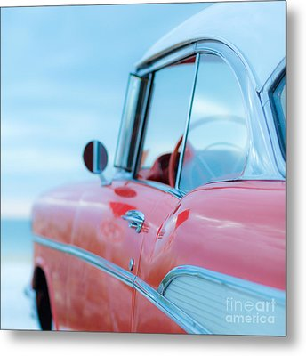 Red Chevy '57 Bel Air At The Beach Square Metal Print by Edward Fielding