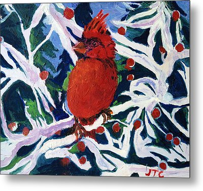 Metal Print featuring the painting Red Bird by Julie Todd-Cundiff