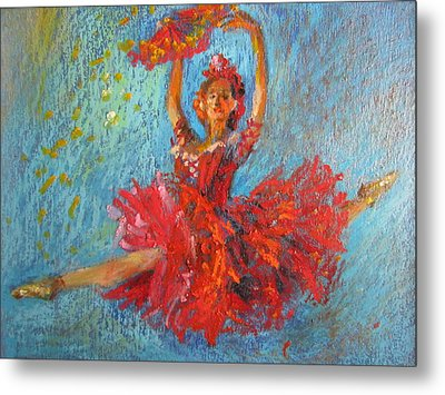 Metal Print featuring the painting Red Fan by Jieming Wang