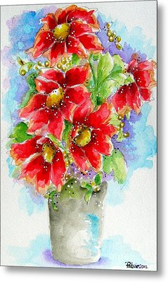Metal Print featuring the painting Red Flowers by Patrice Torrillo