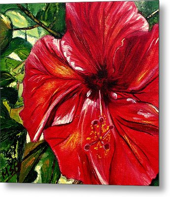 Red Hibiscus Metal Print by Maria Soto Robbins