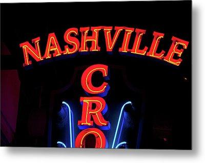 Red Neon Sign Nashville Crossroads Metal Print