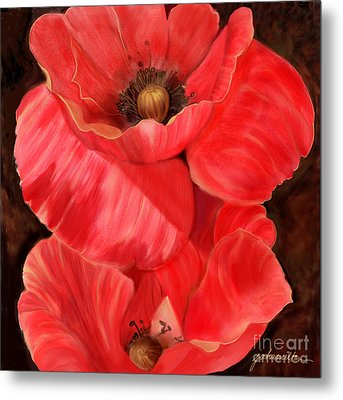 Red Poppy One Metal Print by Joan A Hamilton