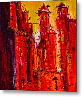 Red Rainy City 2 Metal Print