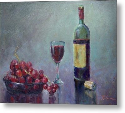 Red - Red Wine Metal Print by Ron Wilson
