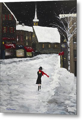 Red Scarf Winter Scene Metal Print by Dick Bourgault