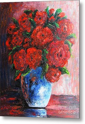 Metal Print featuring the painting Red Scent by Vesna Martinjak