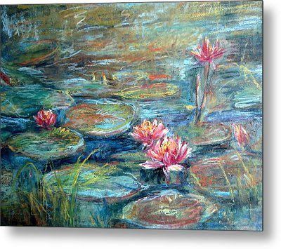 Metal Print featuring the painting Red Waterlily by Jieming Wang