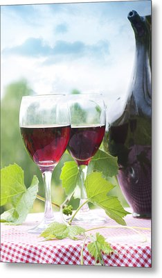 Red Wine Metal Print by Mythja  Photography