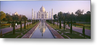 Reflection Of A Mausoleum On Water, Taj Metal Print by Panoramic Images