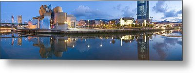 Reflection Of A Museum On Water Metal Print