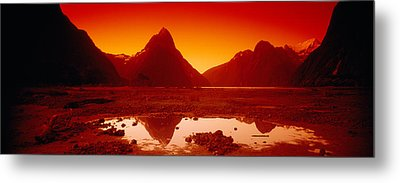 Reflection Of Mountains In A Lake Metal Print
