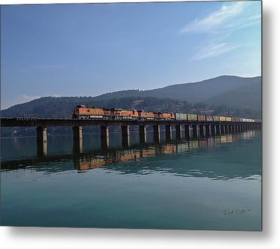 Reflection On Trains Metal Print by Rick Colby