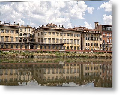 Reflections In The Arno River Metal Print by Melany Sarafis