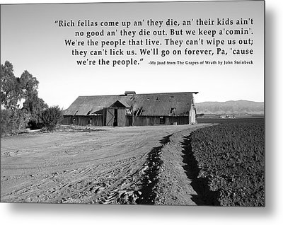 Remnants Of The Grapes Of Wrath John Steinbeck Quote Metal Print