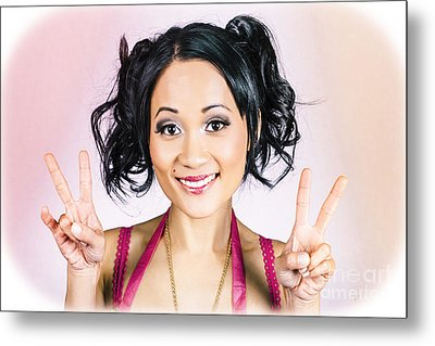 Retro Asian Girl Gesturing Peace Love And Hope Metal Print by Jorgo Photography - Wall Art Gallery